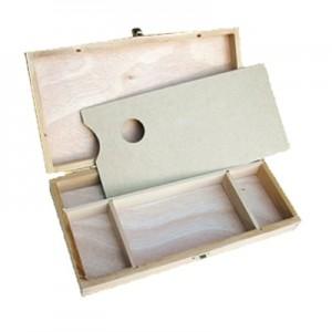 Cassetta Porta Colori in legno con tavolozza - cm 32x16