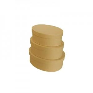 Scatola Cartone Ovale Set 3  Pz Mis.max cm 19.5 x 15 x 7