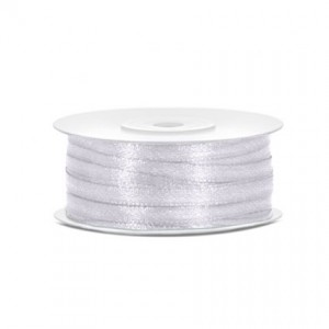 Nastro Raso economico Bianco mm3 - rotolo 100 mt