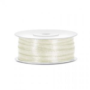 Nastro Doppio Raso Bianco Latte - 3mm - rotolo 100mt