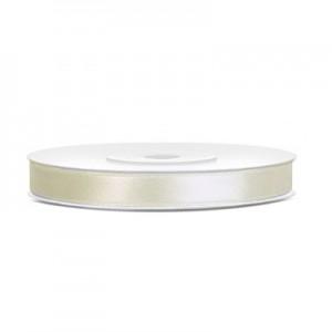 Nastro Doppio Raso Bianco Latte - 10mm - rotolo 100mt