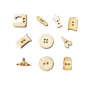 Miniature legno ... Ago e Filo alt. cm 2 - set 10 pz assortiti