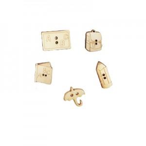 Miniature legno ... Tutti a Scuola  alt. cm 2 - set 5 pz assortiti